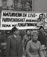 A demonstration on 1st May 1 1969 in Oslo. The banner reads 'Nature conservation a necessity of life. Immediate action against poisoning.' Photo: Arbeiderbevegelsens arkiv og bibliotek (Attribution-NonCommercial-NoDerivs (CC BY-NC-ND)).