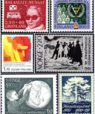 A collage of colourful historic, Nordic stamps.