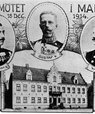 A photo card with the words 'Kungamötet i Malmö 18 Dec 1914' which means The Kings' meeting. There are three portraits next to each other of each the Kings along with their names. At the bottom, you can see the building in which they met.